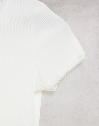 Lost Ink slim fit ribbed T-shirt in white