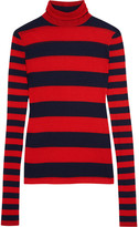 J.Crew Striped Tencel And Cashmere-blend Turtleneck Sweater - Red