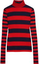 J.Crew Striped Tencel and cashmere-blend turtleneck sweater