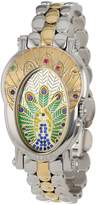 Brillier Women's 18-02 Royal Plume Peacock Inspired Swiss Genuine Gemstones Watch