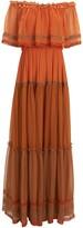 Alberta Ferretti Off-the-Shoulder Silk Chiffon Gown