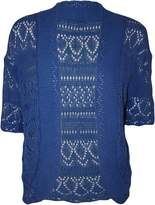 FashionMark Women's Plus Size Crochet Knitted Short Sleeve Cardigan (Mint)