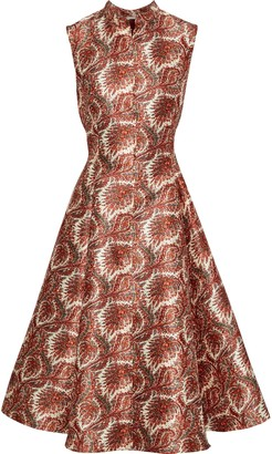 Adam Lippes Flared Printed Satin-jacquard Dress