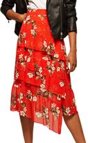 Miss Selfridge Floral Print Asymmetric Midi Skirt, Multi