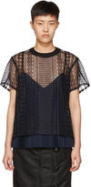 Sacai Navy and Black Cable Lace Blouse