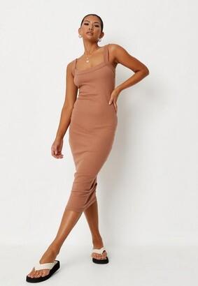 Missguided Tan Rib Scoop Neck Midi Dress