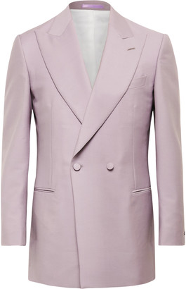 Maximilian Mogg - Double-Breasted Mohair and Wool-Blend Tuxedo Jacket - Men - Purple