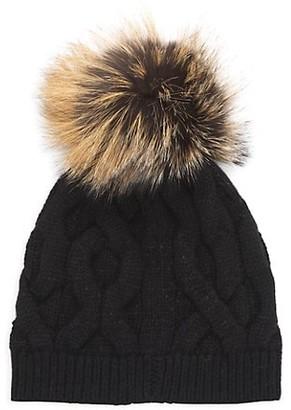 Lafayette 148 New York Fox Fur-Pom Pom Cashmere-Blend Beanie