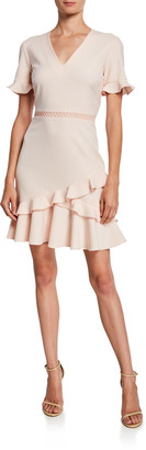 Shoshanna Belleme V-Neck Short-Sleeve Ruffle Dress