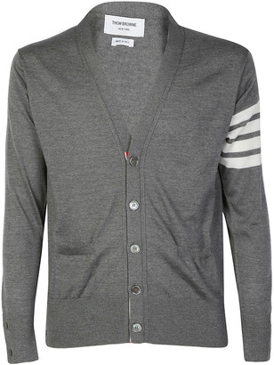 Thom Browne 4-Bar Striped V-Neck Cardigan