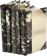 One Kings Lane S/5 Metallic Hide Books, Black/Gold