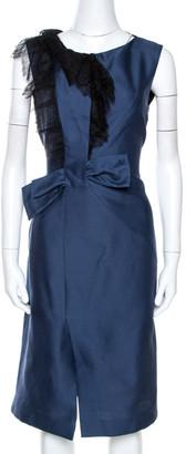 Valentino Navy Blue Lace Trim Ruffled Sheath Dress M