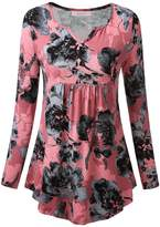 WAJAT Women's Long Sleeve V Neck Front Pleated Flared Comfy Loose Tunic Top Pink Floral 2XL