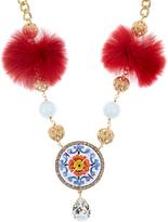 Dolce & Gabbana Majolica fur and crystal-embellished necklace
