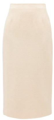 Alessandra Rich High-rise Wool-blend Tweed Midi Skirt - Ivory