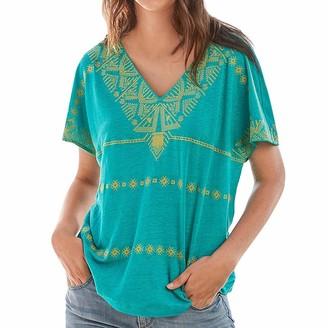 Kobay Women Kobay-women Short Sleeve Tops Casual Bohemia Geometric Print V Neck Blouse T-Shirt Summer Beach Travel Loose Clothes(Mint Green Large)