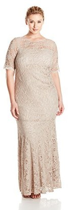 Xscape Evenings Women's Plus Size Short Sleeve Long Lace Dress