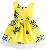 WensLTD Toddler Kids Girls Summer Lace Ball Grown Princess Dress Children Dresses Kids Clothes Outfit (5T, Yellow)