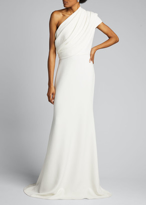 Badgley Mischka One-Shoulder Asymmetric Sleeve Crepe Gown