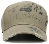 DSQUARED2 scrawled hand drawn cap - men - Cotton/Calf Leather - One Size