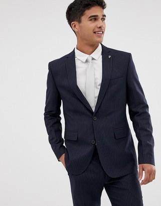 Farah Henderson skinny fit pinstripe suit jacket in navy