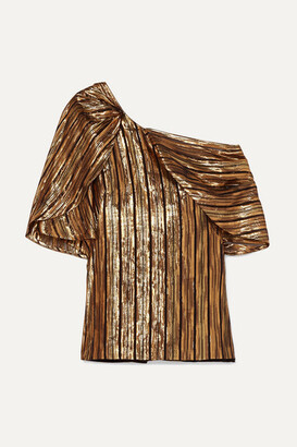 Peter Pilotto Off-the-shoulder Striped Lurex And Silk-blend Chiffon Top - Gold