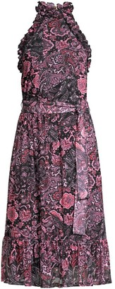 MICHAEL Michael Kors Paisley Ruffle Midi Dress