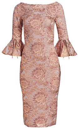 Theia Floral Jacquard Bell-Sleeve Sheath Dress