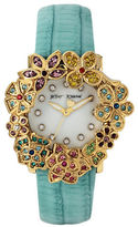 Betsey Johnson Flower Case and Leather Strap Watch