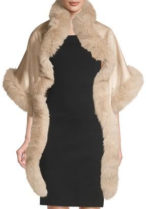 Sofia Cashmere Asymmetric Cashmere & Fox Fur-Trim Wrap