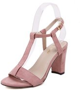 Renly Womens Suede Simple Style Chunky Heel Sandal