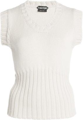 Tom Ford Women's Sleeveless Wool Knit Top - Neutral/green - Moda Operandi