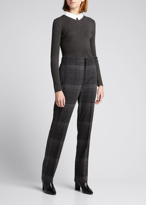 Ralph Lauren Collection Lauray Plaid Cashmere-Wool Pants