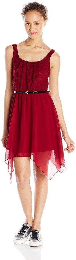As U Wish Junior's Lace Tank Chiffon Bottom Hanky Hem Dress