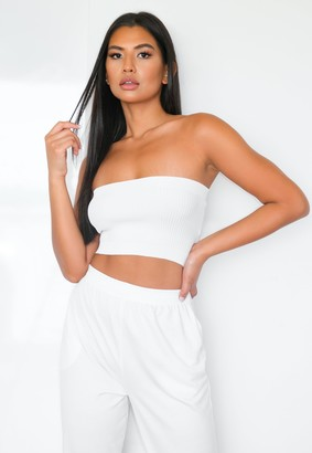 Missguided White Rib Knitted Bandeau Top