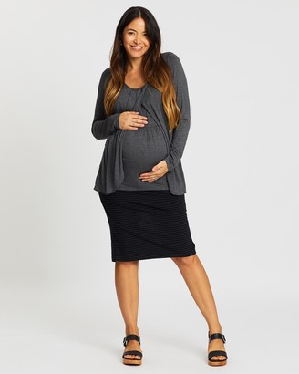 Angel Maternity Maternity Nursing Petal Top & Midi Skirt Outfit
