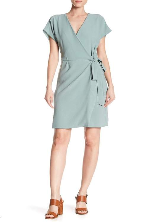 Bobeau Crepe Short Sleeve Wrap Dress