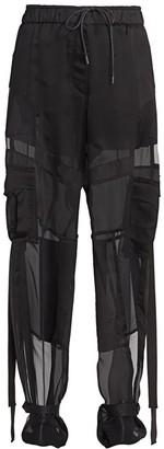 Sacai Satin & Mesh Cargo Pants