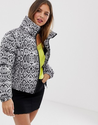 Brave Soul padded jacket in snake print