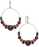 INC International Concepts Gold-Tone Bead and Pavé Gypsy Hoop Earrings