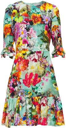 Mary Katrantzou Millais Gathered Devore-velvet Mini Dress