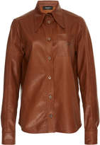 Rochas Leather Shirt With R Pocket Detail