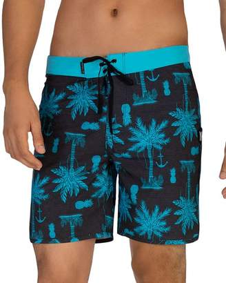 Hurley Phantom Asylum Island-Print Swim Shorts