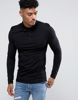 Asos Extreme Muscle Long Sleeve Polo In Black