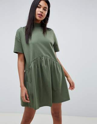 Asos Design DESIGN oversized mini cotton smock dress with high neck-Green