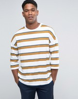 Asos Oversized Stripe 3/4 Sleeve T-Shirt