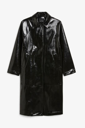 Monki Long patent coat