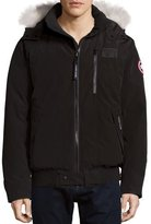 Canada Goose Borden Bomber Jacket with Fur-Lined Hood, Black