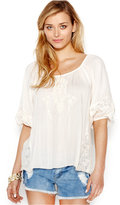 Bar III Embroidered Lace Top