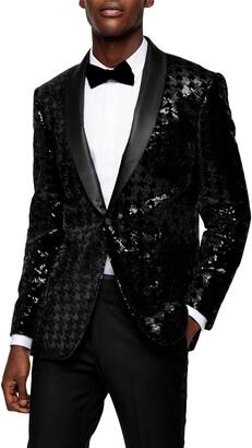 Topman Sequin Skinny Fit Suit Blazer